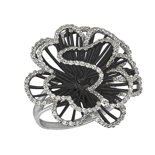 Золотое кольцо Нежный цветок в белом и черном цвете с фианитами VLT--ТТ1042