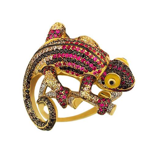 Золотое кольцо Рептилия в комбинированном цвете с фианитами микс и цветной эмалью VLT--ТТ1060-1