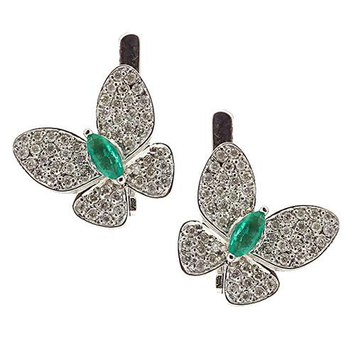 Золотые серьги с бриллиантами и изумрудами Патрисия ZMX--EDE-6722w_K