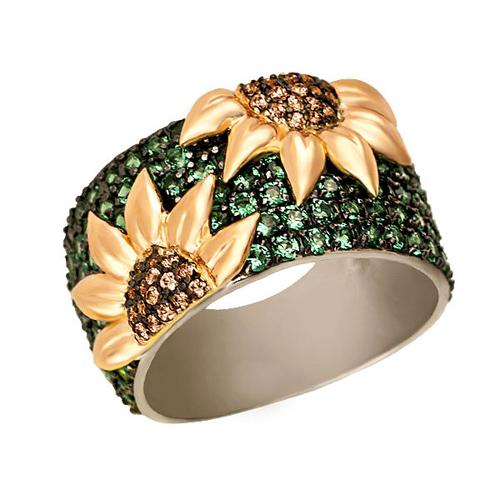 Золотое кольцо Подсолнухи в комбинированном цвете с зелеными и коньячными фианитами VLT--ТТ1018-2