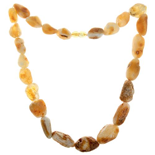 Янтарные бусы Мальна со светлыми необработанными камнями, 46,8г 000054212