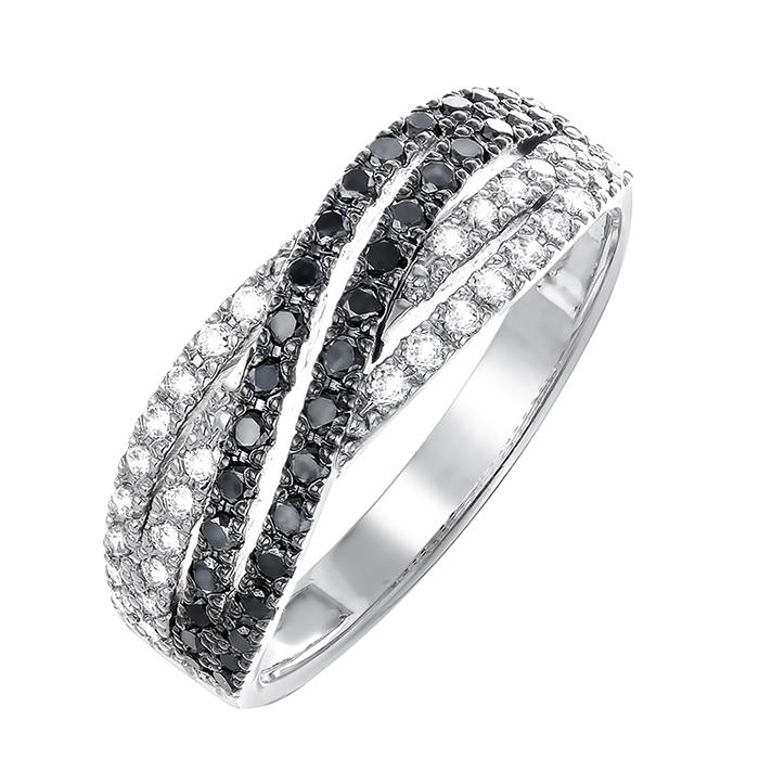 Кольцо из белого золота Адажио с черными и белыми бриллиантами 000064823