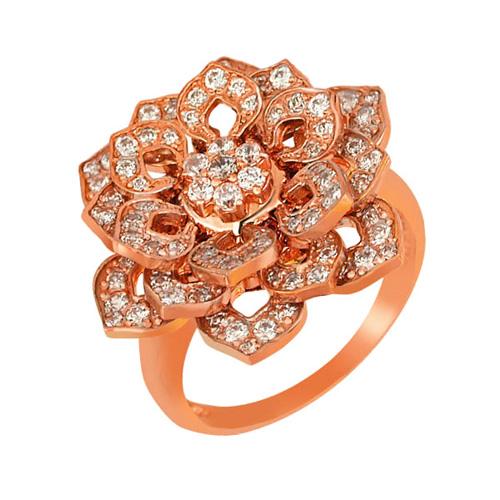 Кольцо из красного золота Георгина с фианитами VLT--ТТ151-2