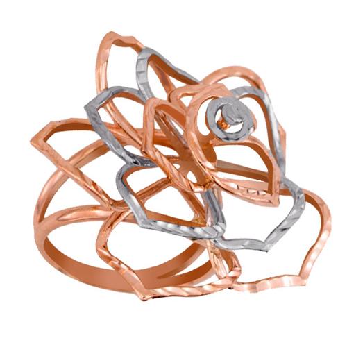 Золотое кольцо Дикая роза в комбинированном цвете с алмазной гранью VLT--Н1266