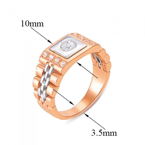 Золотое кольцо-печатка Имидж с фианитами 000061632
