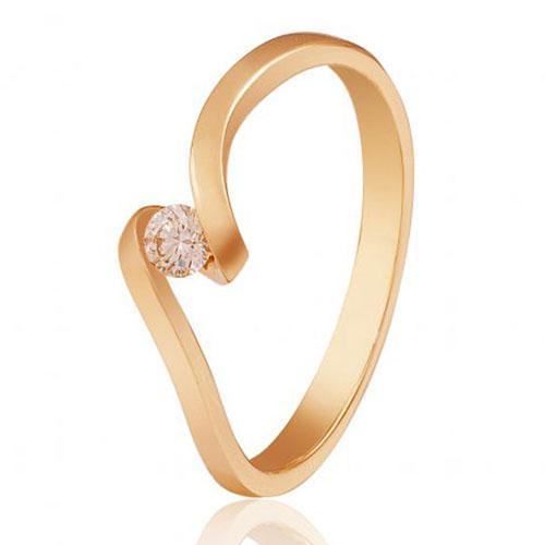 Золотое кольцо Капля росы в красном цвете с бриллиантом EDM--КД7482