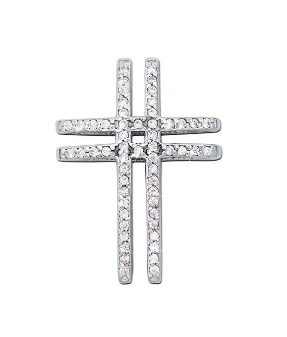 Декоративный крестик из белого золота с фианитами 000124777 000124777