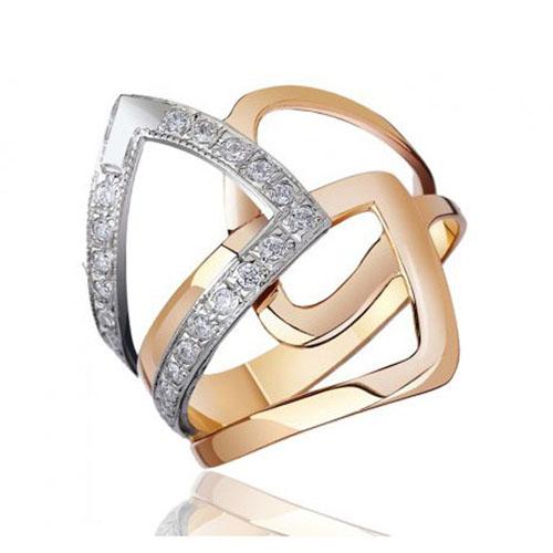 Золотое кольцо Абстракция в комбинированном цвете с фианитами EDM--КД0294