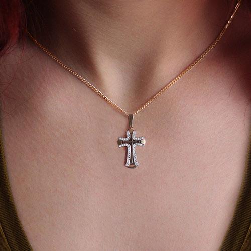 Золотой крестик Вера в комбинированном цвете с бриллиантами VLA--33310