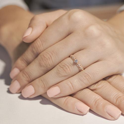 Золотое кольцо Путешествие любви в красном цвете с фианитами 12688