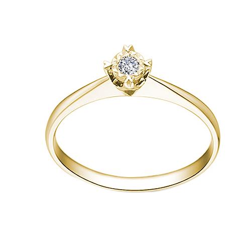 Золотое помолвочное кольцо Сияние звезды в желтом цвете с насечкой вокруг бриллианта 0,07ct 000070599