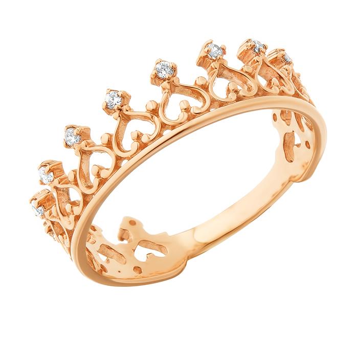 Золотое кольцо-корона Сердце королевы с ажурной шинкой и фианитами 000079932