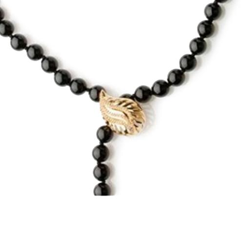 Золотое колье с ониксом и коньячными бриллиантами Coffee 000030446