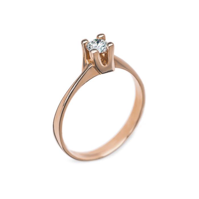 Кольцо в красном золоте Альхена с бриллиантом 000079310