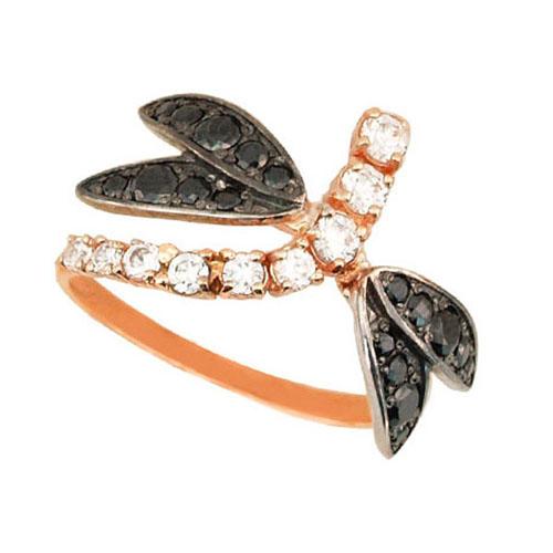 Золотое кольцо Стрекоза в комбинированном цвете с черными и белыми фианитами VLT--Е1439