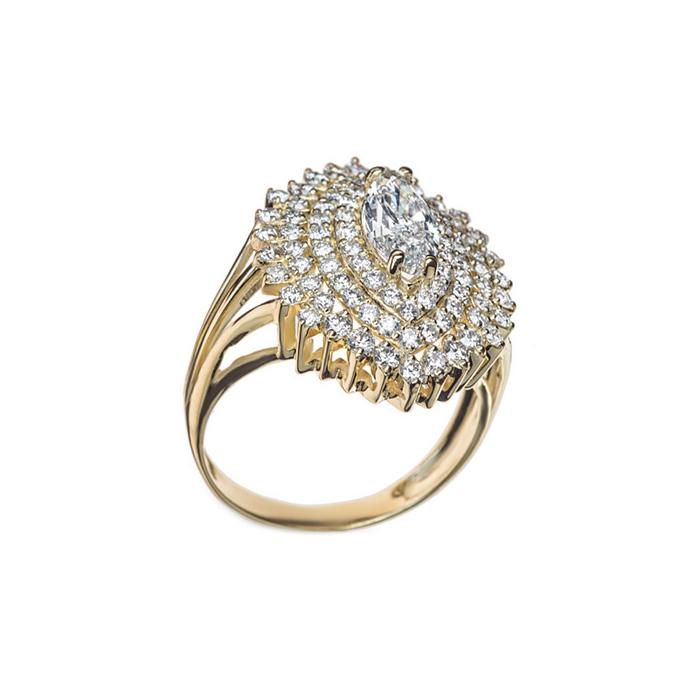 Кольцо в желтом золоте Despina с бриллиантами 000079331