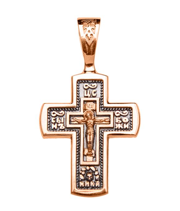 Православный крестик в комбинированном цвете золота с чернением 000130865 000130865