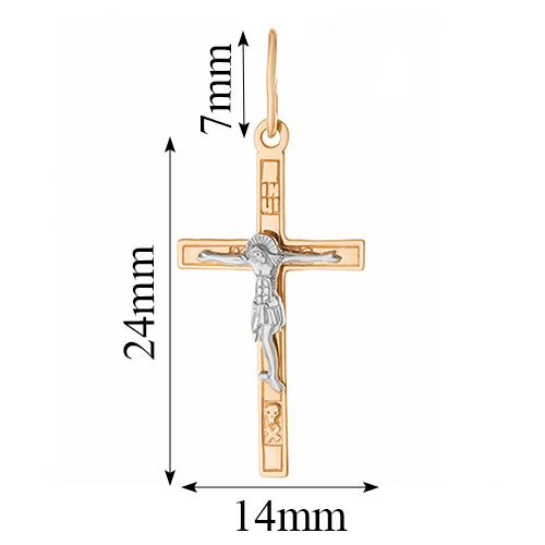 Золотой крестик Спаситель в комбинированном цвете 000055226 000055226