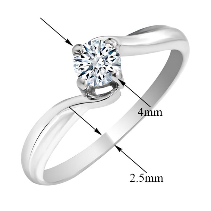 Золотое помолвочное кольцо Милдрит в белом цвете с фианитом 000104467