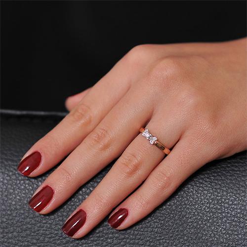 Золотое кольцо Изабелла в комбинированном цвете с бриллиантами EDM--КД7420