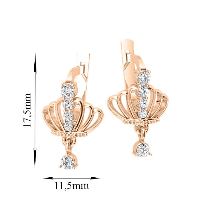 Золотые серьги Корона с фианитами и подвеской 000079936