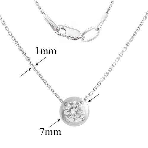 Серебряное колье Мия с белым завальцованным фианитом 000082758