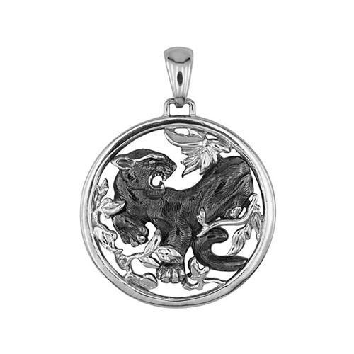 Золотой кулон Дикая пантера в белом и черном цвете VLT--А313