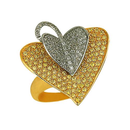 Золотое кольцо Осенний лист в желтом и белом цвете с белыми и шампань фианитами VLT--ТТ1032-1