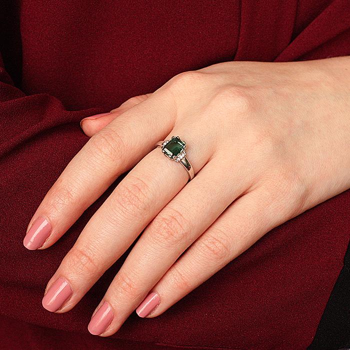 Серебряное кольцо Гринерия c зеленым кварцем и фианитами 000063095