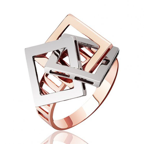 Золотое кольцо Квадрат в комбинированном цвете  EDM--КД0365