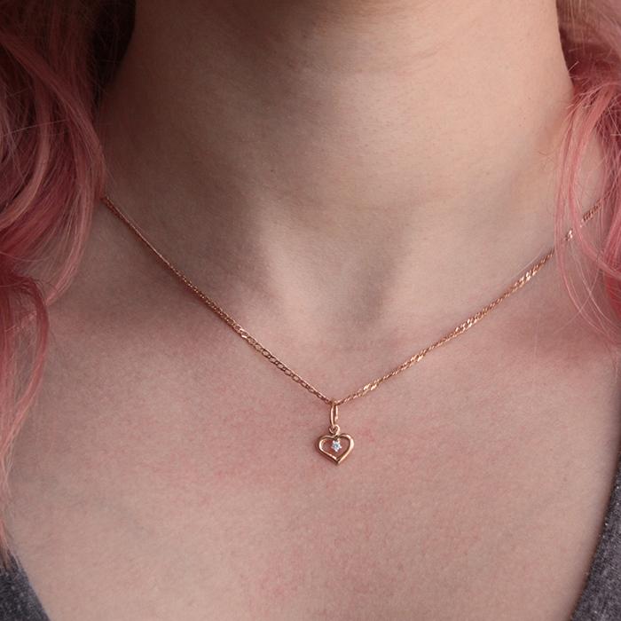 Кулон из красного золота с фианитом 000001233 EDM--П082