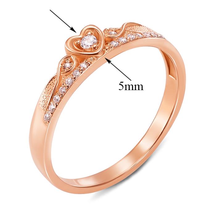 Кольцо-корона из красного золота с фианитами 000000255 12570z