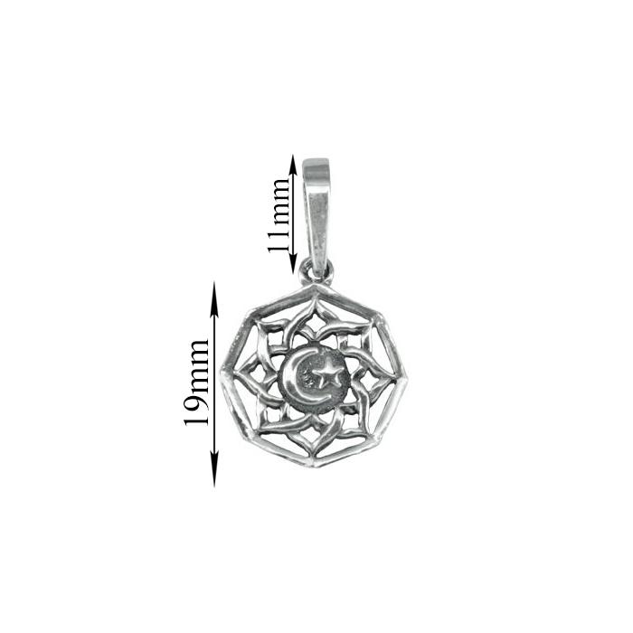Серебряный кулон-мандала Звезда и полумесяц 000079963