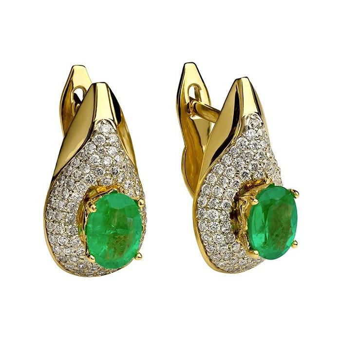 Золотые серьги с изумрудами и бриллиантами Феномен 000030432