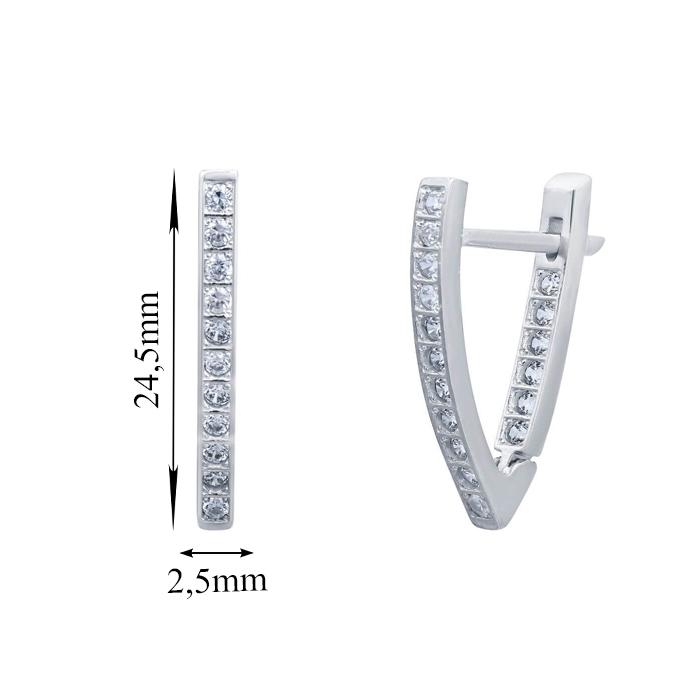 Серебряные серьги Рина с фианитами 000068731