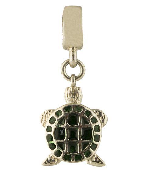 Серебряный шарм Черепашка с зеленой эмалью 000078229