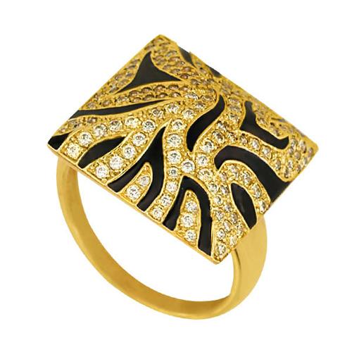 Кольцо из желтого золота Сафари с фианитами и черной эмалью VLT--Т153-1