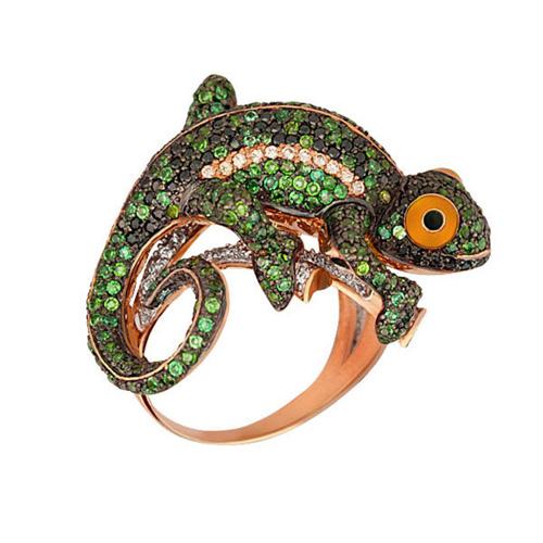 Золотое кольцо Ящерица в комбинированном цвете с эмалью и разноцветными фианитами VLT--ТТ1059-2