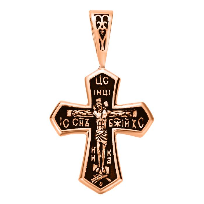 Крестик из красного золота с чернением 000103802 000103802