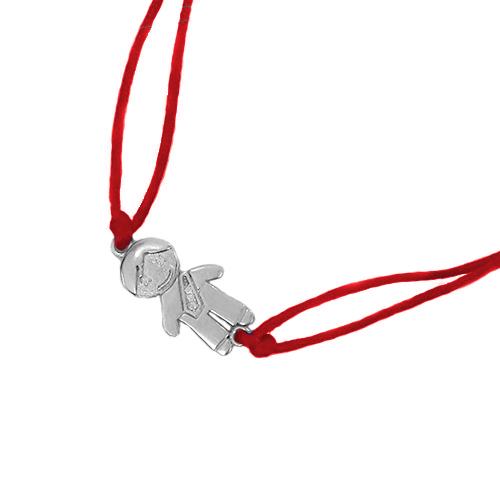 Браслет с серебряной фигуркой Мальчик с фианитами 000012223