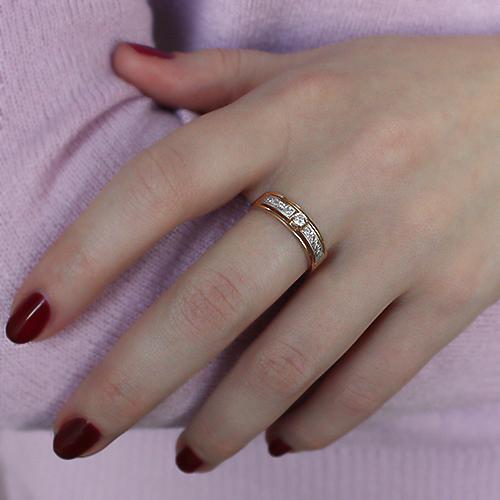 Золотое кольцо Ориана в комбинированном цвете с фианитами EDM--КД032