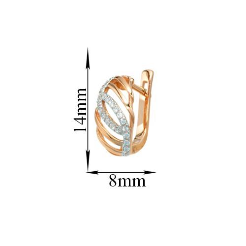 Золотые серьги Соединение с дорожками белых фианитов 000079938