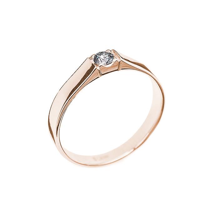 Кольцо в красном золоте Дана с бриллиантом 000079316