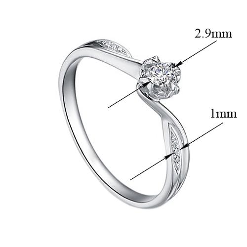 Золотое помолвочное кольцо Emily в белом цвете с асимметричной шинкой и бриллиантами, 0,09ct 000070595