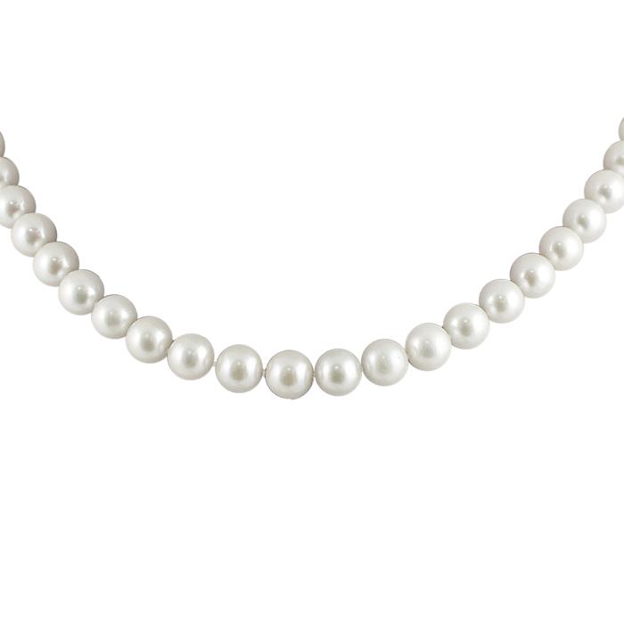 Ожерелье Нимея с белым жемчугом и серебряной застежкой р.42 000058348