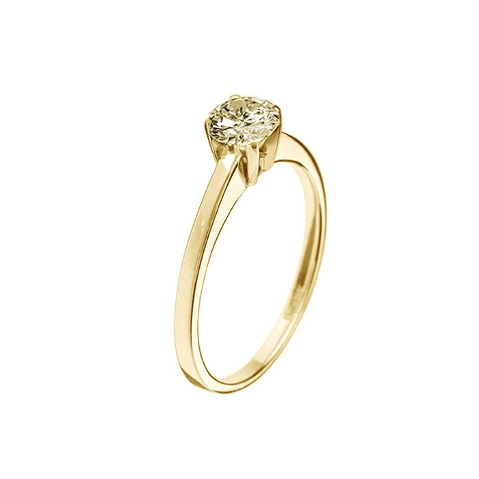 Кольцо в желтом золоте Ирида с бриллиантом 000079261