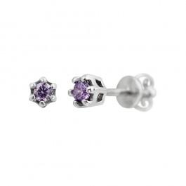 Серебряные серьги-пуссеты Полли с фиолетовым цирконием 000081809