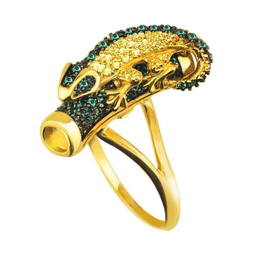 Золотое кольцо Хамелеон в комбинированном цвете с зелеными и шампань фианитами VLT--ТТ1028-1