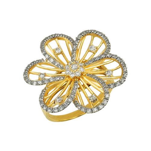 Золотое кольцо Жасмин в желтом и белом цвете с фианитами VLT--ТТ1080