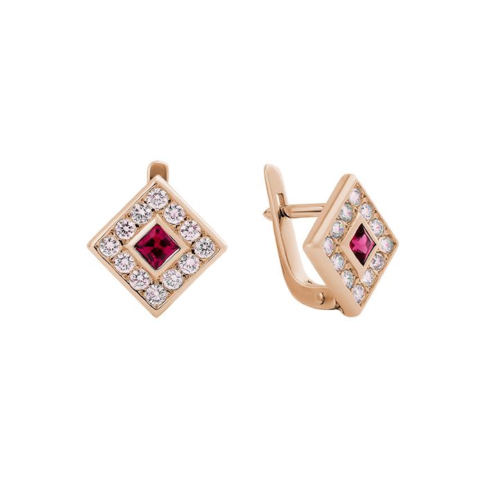 Серьги в красном золоте Клэрити с рубином и бриллиантами 000079184